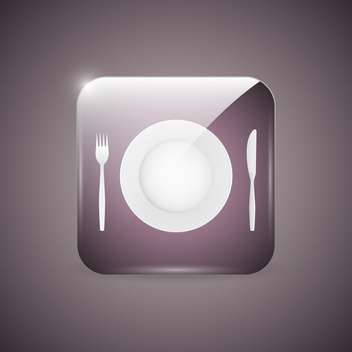 Vector icon with dinner plate, knife and fork - vector gratuit #129362