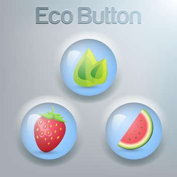 Vector set of eco buttons with green leaves, strawberry and watermelon - Free vector #129372