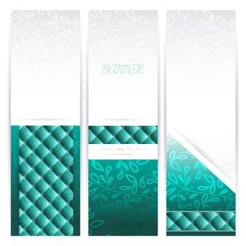 Vector vintage floral white and green banners - Free vector #129382