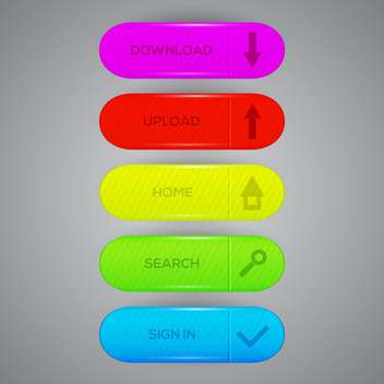 Vector set of colorful web buttons with download, upload, home, search, sign in - Kostenloses vector #129402
