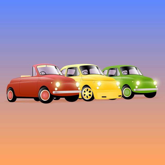 Vector illustration of three colorful retro cars - Free vector #129412