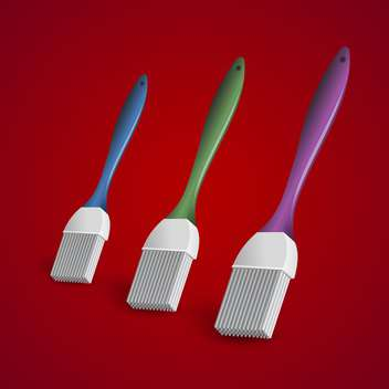 Vector illustration of three paintbrushes on red background. - vector gratuit #129422