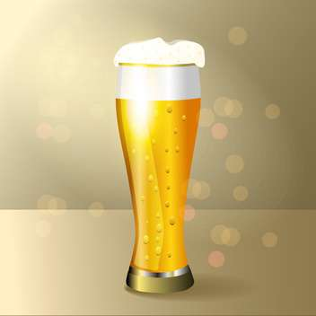 Vector illustration of glass of beer on yellow background - vector gratuit #129492
