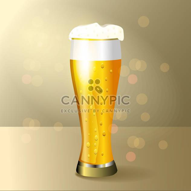 Vector illustration of glass of beer on yellow background - Free vector #129492