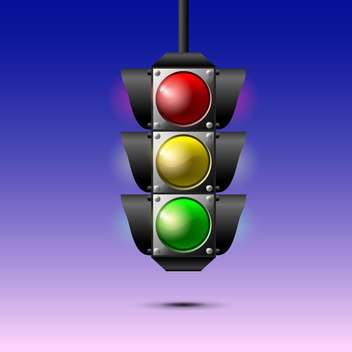 Vector illustration of traffic lights on purple background - vector gratuit #129502