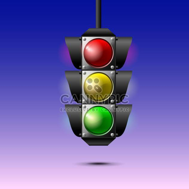 Vector illustration of traffic lights on purple background - Free vector #129502