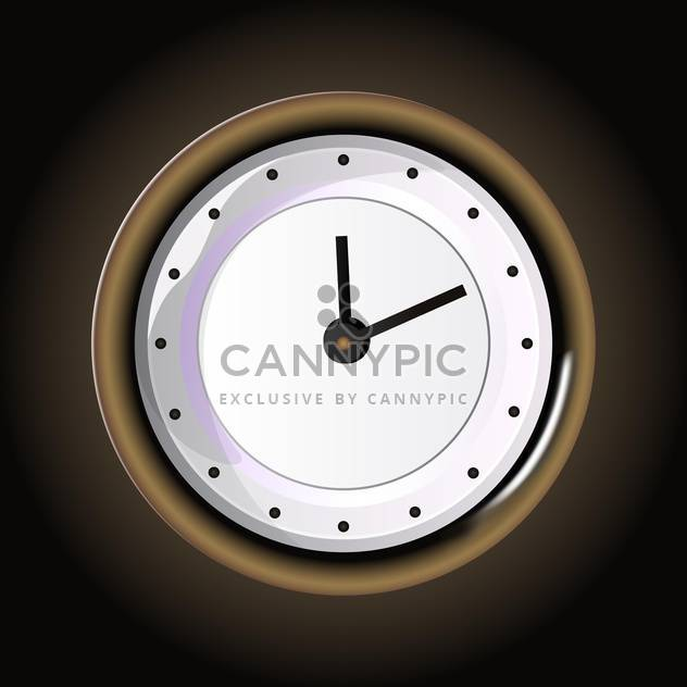 Vector illustration of round clock on wooden background - Free vector #129512