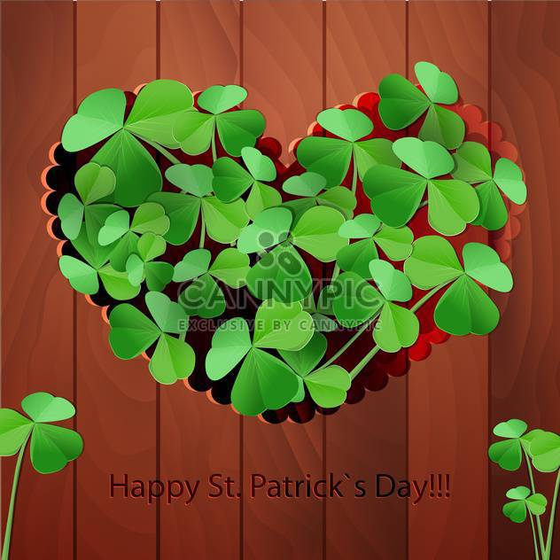 Vector St Patricks Day greeting card with heart and clover leaves - Free vector #129532