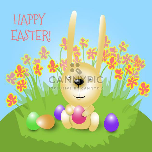 Happy Easter card with bunny holding pink egg and sitting on grass - Free vector #129542