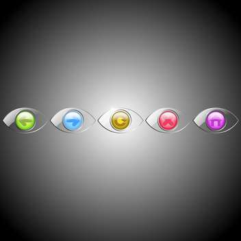 Vector set of eyes browser buttons on gray background - vector gratuit #129562