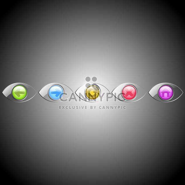 Vector set of eyes browser buttons on gray background - Free vector #129562