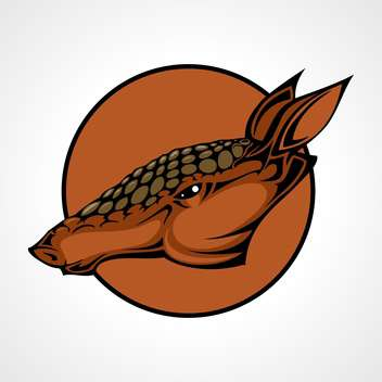 Vector illustration of armadillo head inside circle on gray background - Free vector #129572