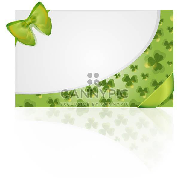 Vector St Patricks day greeting card with clover leaves and bow - Free vector #129582