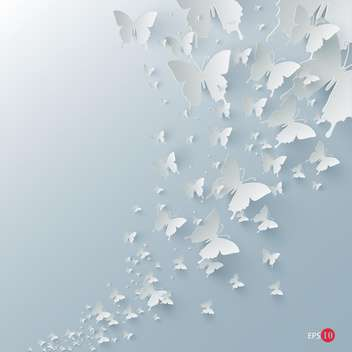 Vector background with paper butterflies on blue background - vector gratuit #129592