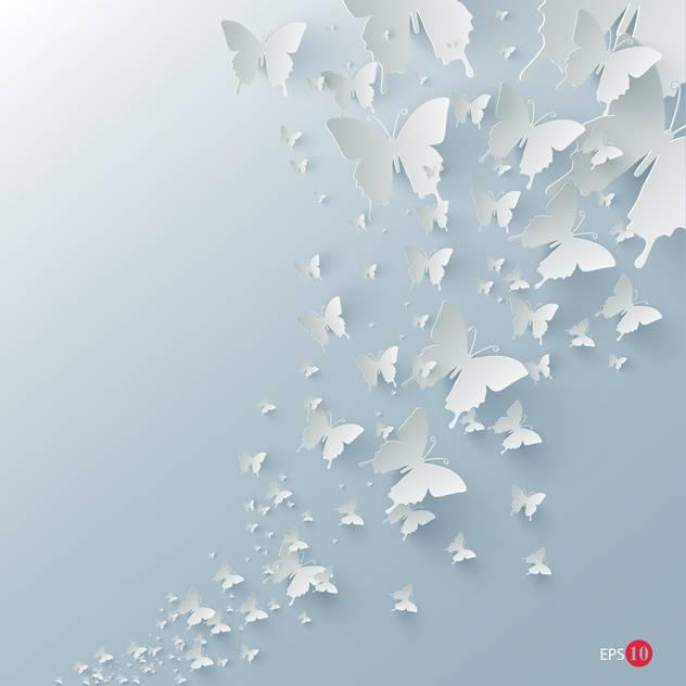 Vector background with paper butterflies on blue background - Free vector #129592