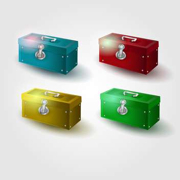 vector set of colorful chests on white background - vector gratuit #129612