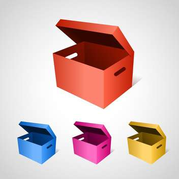 Vector set of colorful boxes on gray background - vector gratuit #129652