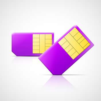Vector illustration of two purple SIM cards on white background - Free vector #129662