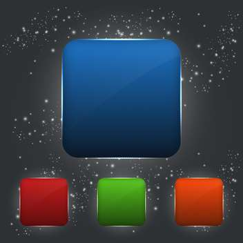 Set of vector square colorful buttons on dark background - vector gratuit #129682