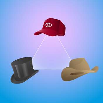 Vector set of three hats with triangle on blue background - vector #129692 gratis