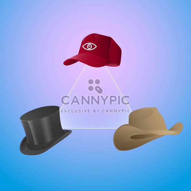 Vector set of three hats with triangle on blue background - Free vector #129692