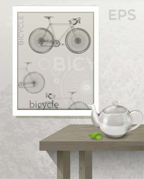 Vector illustration of table with teapot and picture with bicycle on wall - Free vector #129722
