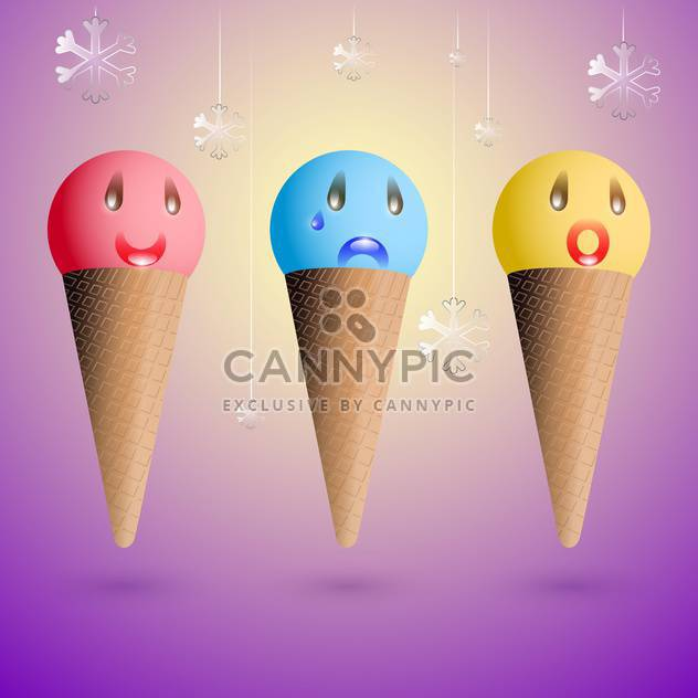 Vector set of ice cream cones with different emotions on purple background - бесплатный vector #129772