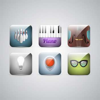Vector set of icons of cello, piano, bowling, glasses, lamp and navigation on gray background - vector #129792 gratis