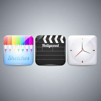 Vector icons set of pencils, clapboard and clock on gray background - Free vector #129842