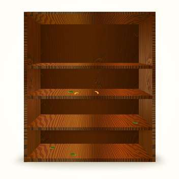 Vector illustration of wooden cabinet with shelves on white background - vector gratuit #129922