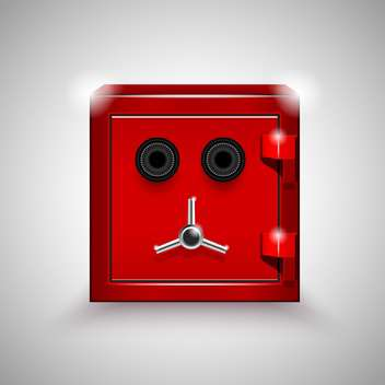 Vector illustration of red steel safe on grey background - Free vector #129952