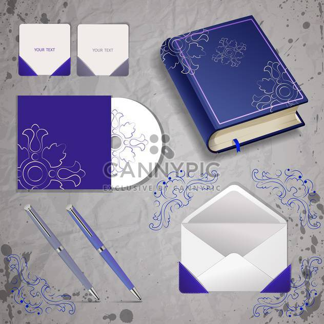 Vector templates of book, pen, envelope and disk - Free vector #129962