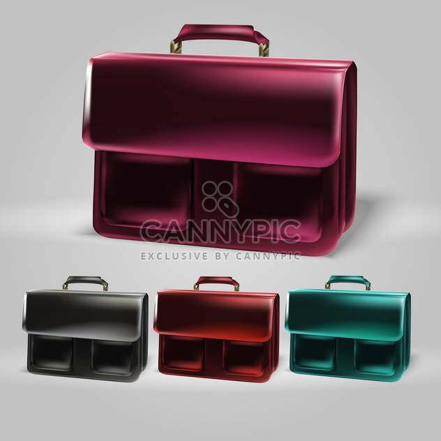 Vector colorful briefcase set on grey background - Free vector #129982