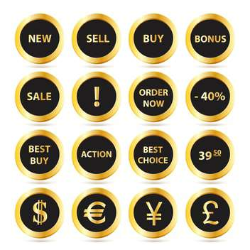 Golden sale buttons set on white background - бесплатный vector #130022