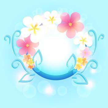 Spring frame with flowers on blue background - Kostenloses vector #130052