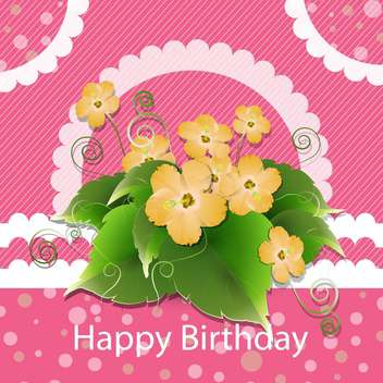 Cute happy birthday card with flower bouquet - Kostenloses vector #130142