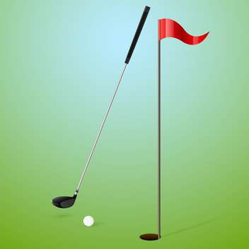 Vector illustration of golf accessories on green background - vector gratuit #130212