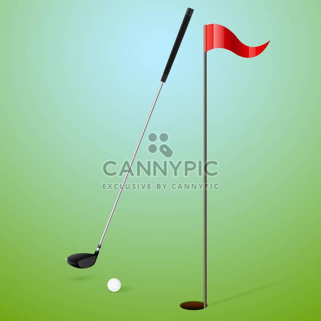 Vector illustration of golf accessories on green background - Free vector #130212