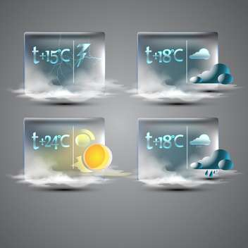 web weather forecast icons set - vector gratuit #130342