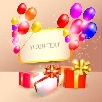 birthday balloons, gift boxes and greeting card - vector gratuit #130392