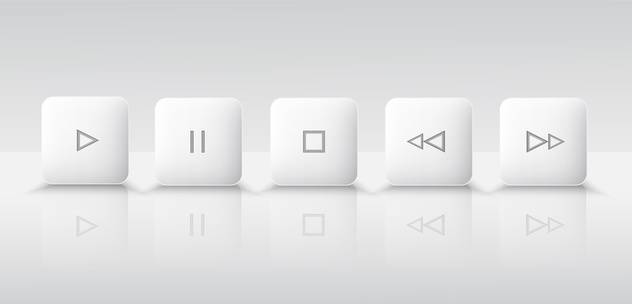 Five white media player buttons - бесплатный vector #130422