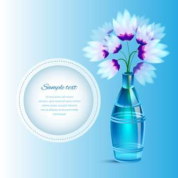 Spring flowers in a vase with space for text, on blue background - vector gratuit #130472