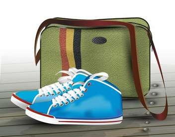 vector sneakers and bag illustration - vector gratuit #130502