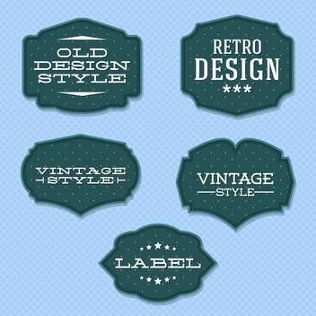Vector vintage retro labels on blue background - vector #130542 gratis