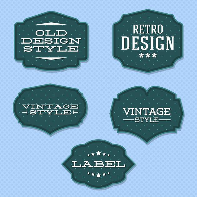 Vector vintage retro labels on blue background - vector gratuit #130542