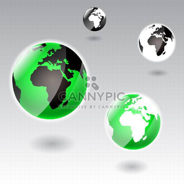 Vector Earth globe icons on grey background - Free vector #130612