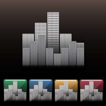 Skyscraper city icon set on black background - Free vector #130652