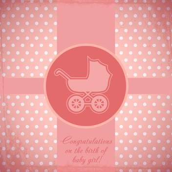 Vector pink card with baby carriage - бесплатный vector #130662