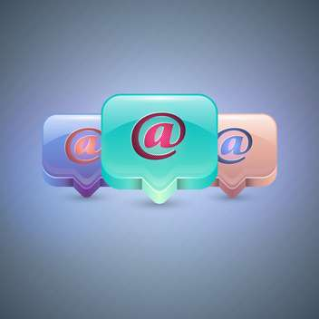 Vector e-mail colorful icons on blue background - vector gratuit #130692