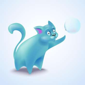 vector illustration of cute blue cat with bubble - vector gratuit #130712